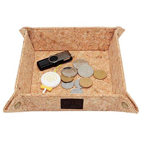 boshiho Cork Münzschale, Catchall Snap Schmuckschlüssel Telefon Münzwechsler Schmuckkästchen Organizer Box, Winziger Aufbewahrungsbehälter für Uhren Caddy Vegan Geschenk (Kork 02)