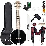 Kmise Banjolele Banjo Ukulele Concert Size 23 Inch with Bag Tuner Strap Strings Pickup Picks Ruler Wrench Bridge