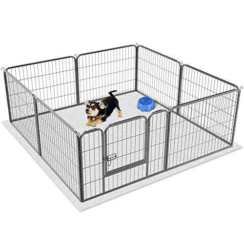 Yaheetech Recinto per Cani Cuccioli Conigli Gatti Animali da Interno e Esterno Giardino Rete Recinzione Ferro 8 pz 60 x 80 cm