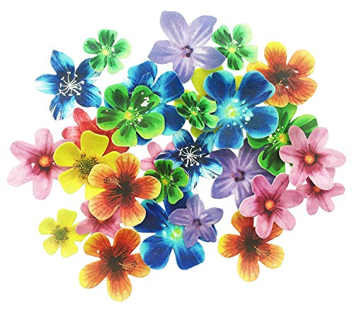 Set of 30 Edible Flower Cupcake Toppers Wedding Cake Birthday Party Food Decoration Mixed Size & Colour