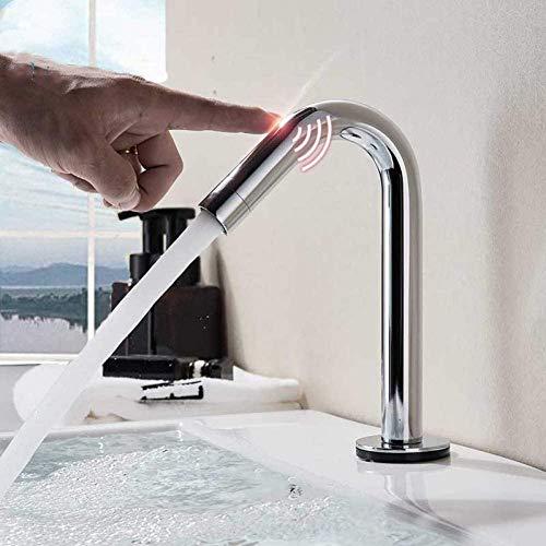YZDD Grifo cromado pulido Smart Touch Control grifo de lavabo Grifo táctil de mano Grifo mezclador frío caliente Grifo de baño Grifo de lavabo Grúa táctil Torneira