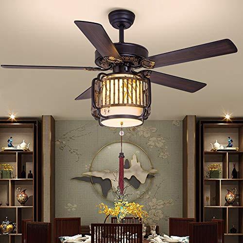 Araña del ventilador de techo de estilo chino, iluminación de techo, luz colgante de dormitorio, sala de estar, lámpara colgante moderna, diámetro 51.96in, altura 22.83in (Color : B)