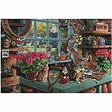 LWL Gato en el alféizar for Adultos Rompecabezas 1000 Pedazos de cartón, Colorido Puzzles Juego, Decoración del hogar, Juguetes educativos Niños Cerebro