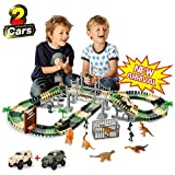 TTOUADY Dinosaur Toy Trains Race Car Extended 158 Tracks 2 Cars 6 Dinosaurs, Awesome Gift Learning...