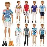 Festfun 7 Vêtements & Accessoires de Poupée Garçon 1 Set Tenue de Docteur 4 Vêtements Casuel avec 2 Chaussures pour Poupée Ken