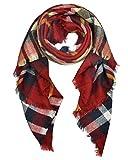 Abrigo de la bufanda del mantón de la tela escocesa de Cozy Chequeado Mujeres Señora Manta Tartán de gran tamaño (rojo)