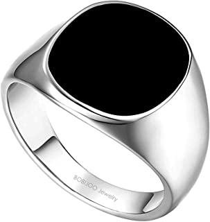 503a0a6d1460 BOBIJOO Jewelry - Bague Chevalière Cabochon Homme Femme Acier Inoxydable  316L Argenté Noir Email