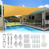 Ohuhu Sun Shade Sail 8' X 10' with Sturdy Hardware Kit Stainless Steel, 100% HDPE Rectangle Shade...