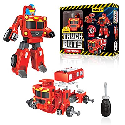 USA Toyz Truck Bots Fire Truck Robots for Kids - STEM Robot and Truck Take Apart Toys for Kids, 3-in-1 Action Robot, Fire Trucks, and Building Toys Kit with Toy Screwdriver (19 Pieces)