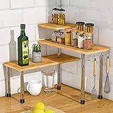 Kitchen Countertop Organizer Corner Shelf - 3 Tier Bathroom Storage Display Counter Shelves Bamboo Spice Rack Desk Bookshelf with Hooks
