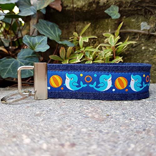 Schlüsselband Schlüsselband Filz dunkelblau Webband Delphine blau gelb Geschenk!