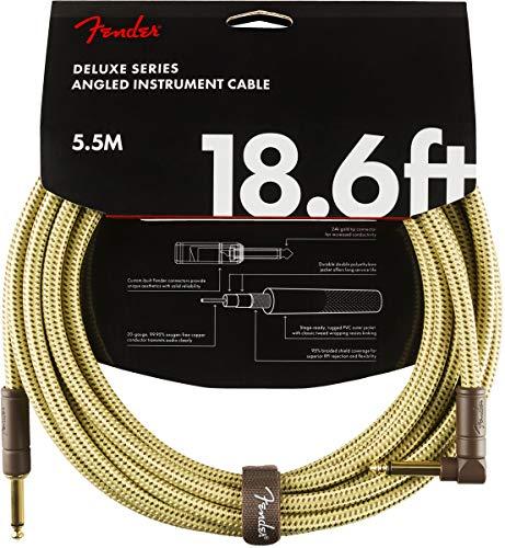 Fender 099-0820-082 Cable de instrumentos de la serie Deluxe, 18.6 ', STR/ANG, Tweed