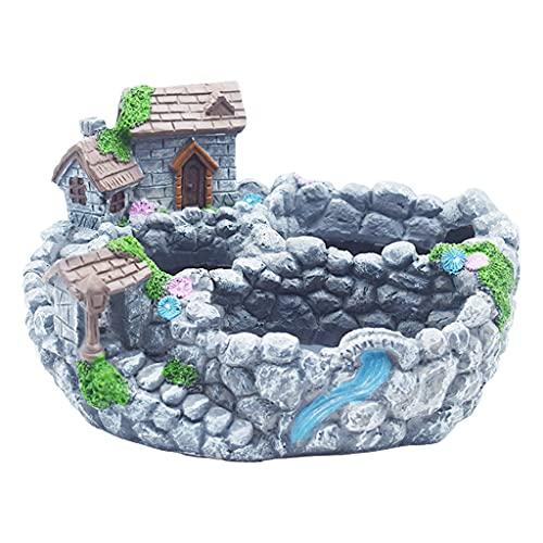 JIUYECAO Maceta de resina de hadas moderna para jardín en miniatura, para decoración de casita