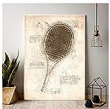 DNJKSA Dibujos de diseño de Raqueta de Tenis Impresión de Lienzo Pintura de Arte de Pared para Sala de Estar Decoración del hogar Regalo-20x30 IN Sin Marco