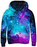 Girl's Boys Casual Hooded Pullover Romantic Pattern Blue Pink Galaxy Interstellar Colorful Hoodies Teens Cool Breathable Crew Neck Outwear Tops for Show Busking Hiking Spring Fall Winter Size 8-11T