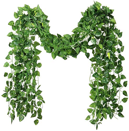 84 feet Fake Foliage Garland Leaves Decoration Artificial Greenery Ivy Vine Plants for Home Decor Indoor Outdoors (Scindapsus Leaves/12 Strands)