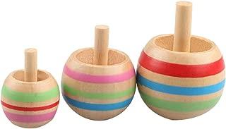 Lanlan 3 Pcs Handmade Painted Wood Flip Spinning Tops Wooden Toys