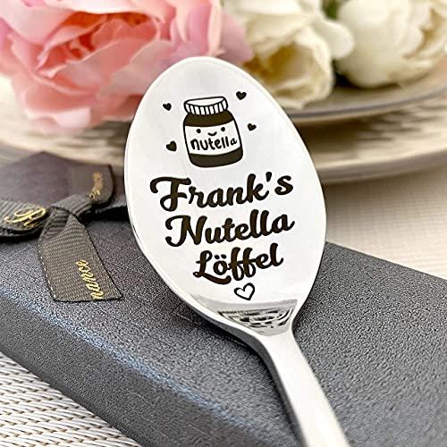 Nutella löffel Kaffeelöffel mit Gravur - Namenslöffel - nach Wunsch Überraschung - Gestaltung Edelstahl - Geschenk Nutella löffel in Geschenkbox
