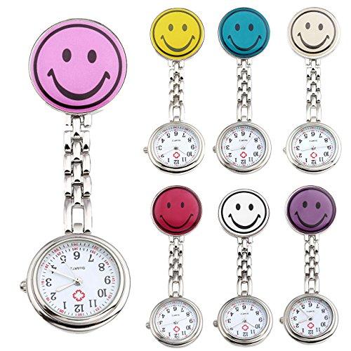 JSDDE 7er Unisex Krankenschwesteruhr Set Analog Quarz Rund Lächeln Emoticon Krankenschwester Uhr Schwesternuhr Taschenuhr