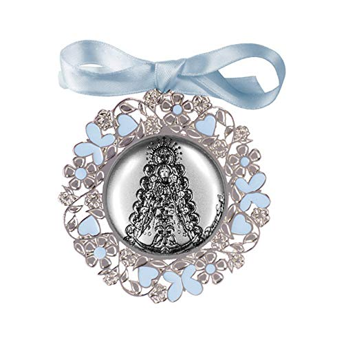 DOCOLASTRA Medalla personalizada de Cuna o Cochecito Virgen del Rocio disponible en Rosa y Azul en metal y Plata bilaminada con esmalte y barnizado.