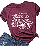 Country Music Cute Funny Graphic T Shirt Tops for Women Friend Tennessee Whiskey Strawberry Wine Tee Shirt Tunic (L, Red)