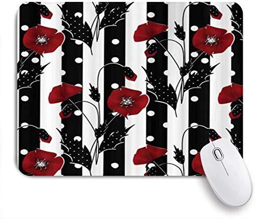 HARXISE Alfombrilla Gaming,Amapolas Rojas sobre Rayas Blancas y Negras botánica Floral,con Base de Goma Antideslizante,240×200×3mm