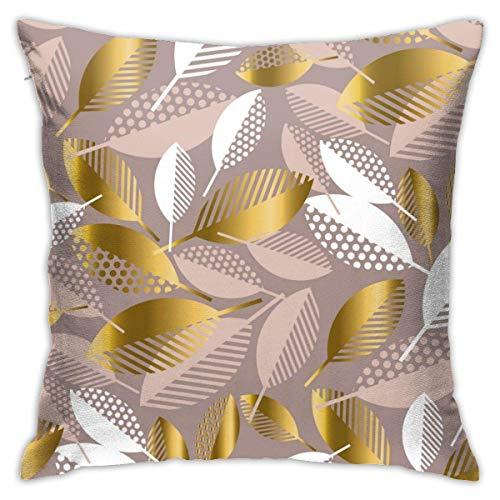 Fundas de Almohada, Fundas para Cojines de Lino Funda de Almohada Hojas de Arte Funda Cojin Decorativa de Casa para sofá Dormitorio Coche,45x45CM