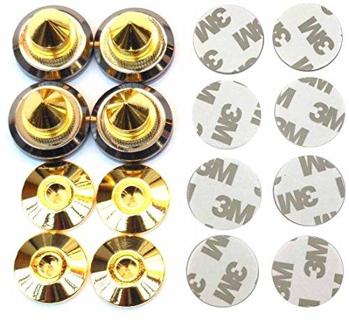 Kasamy スッキリ 高音質 高さ 調整 可能 金属製 金メッキ オーディオ スピーカー インシュレーター スパイク 受け 4 個 組 セット