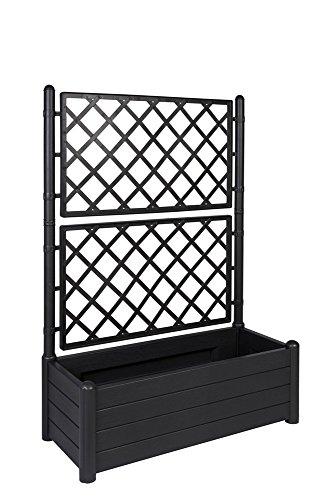 XL Rankgitter, Spalier mit Pflanzkasten aus robustem Kunststoff in Anthrazit/Grau. Maße BxTxH in cm: 100 x 43 x 142 cm. Topp für Garten, Terrasse und Balkon!
