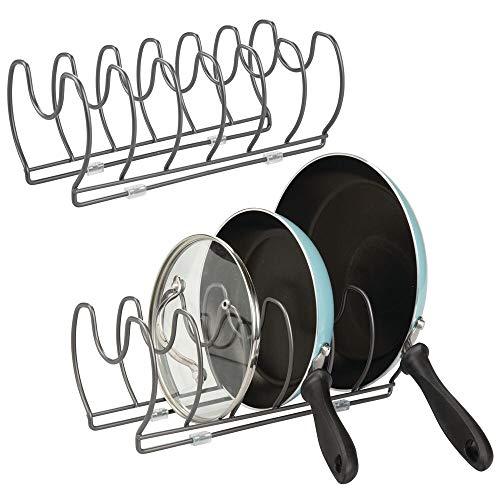 mDesign Juego de 2 soportes para sartenes, ollas y tapas – Organizador de tapas de ollas compacto para el armario de la cocina –...