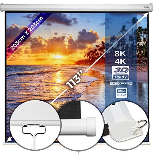 Beamerleinwand 203x203cm - in verschiedenen Größen mit und ohne Stativ, einfache Montage, Format 1:1, 4:3, 16:9, HD 4K 3D - Rolloleinwand, Projektionsleinwand, Heimkino, Kinoleinwand