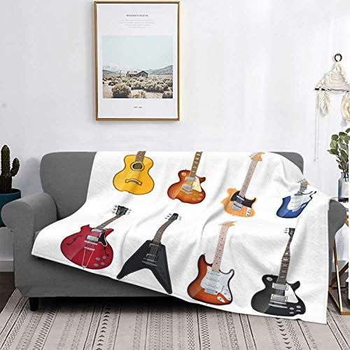YOLIKA Throw Blanket Lightweight Ultra-Soft,A Wide Variety Of String Instruments Realistic Musical Jazz Blues Acoustic,Microfiber All Season Living Room/Bedroom/Sofa Couch Bed Flannel Quilt,60' X 50'