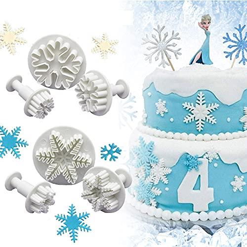 PERFETSELL 6 Pcs Moldes Copos de Nieve Fondant Cortadores para Fondant Cortador de Galletas Moldes Copos de Nieve Frozen con 3 Tamaños Copo de Nieve para Fondant Decoración de Pasteles Navidad ⭐