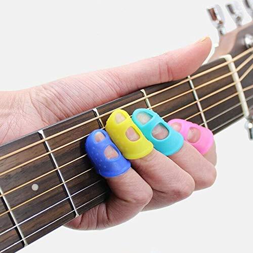 BZAHW 4pcs Guitar Fingertip Protector Fingerstall Silicone Guitar String Finger Guard Protection Press Ukulele Bass Guitar Accessories (Color : Transparent M)