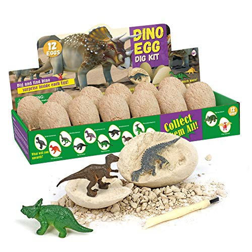 Juguetes Huevos Dinosaurio, 12 Piezas Juego Huevos Dinosaurio, Kit Excavación Dinosaurios Arqueología para Niños, con Herramientas Excavación, Regalos Fiesta Dinosaurios para Niñas