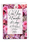 NobleWorks - 1st Anniversary Card with Envelope - 1 Year of Marriage, Love Milestone Flower Card for Wife, Husband, Couples - Year Time Count 1 C9083MAG