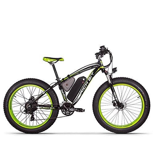 RICH BIT Bici elettrica 1000W RT022 E-Bike 48V * 17Ah Li-batteria 4.0 pollici grasso pneumatico da uomo bici da spiaggia adatta per 165-195 cm (Black-Green)
