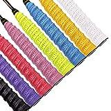 QH-Shop Mangos de Raquetas de Tennis Badminton Anti Slip Perforado Absorbente Sobregrip Grip Multicolor 8 Paquete