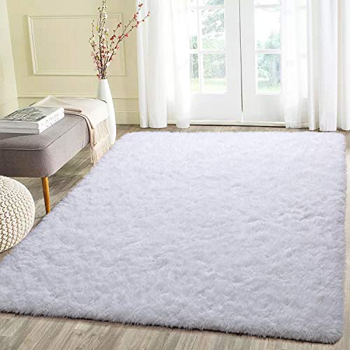 Beglad 4 ft x 5.3 ft Soft Fluffy Area Rug Modern Shaggy Bedroom Rugs for Kids Room Extra Comfy Nursery Rug Floor Carpets Boys Girls Fuzzy Shag Fur Home Decor Rug, White