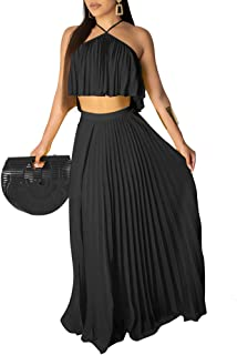 Crop Top Maxi Skirt Set - Sexy Summer Beach Pleated Two Piece Outfit Dress for Women Elegant