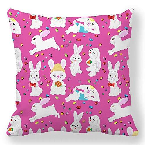 Funda de almohada de 40,6 x 40,6 cm, decoración de Pascua, funda de almohada de conejo feliz, funda de cojín de huevo de Pascua, funda de cojín para sofá, silla, suavidad, funda de almohada # 218