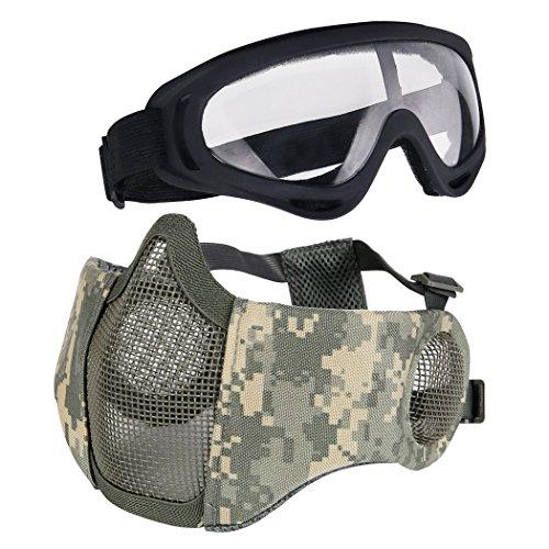 Aoutacc Airsoft Schutzausrüstung, Set mit Halbgesichtsmasken mit Ohrenschutz und Brille für CS/Jagd/Paintball/Shooting, Acu