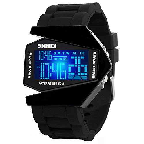 Gosasa Men Sports Military Watches Digital Airplane Shaped LED Colorful Light Watches (Black) (Black)
