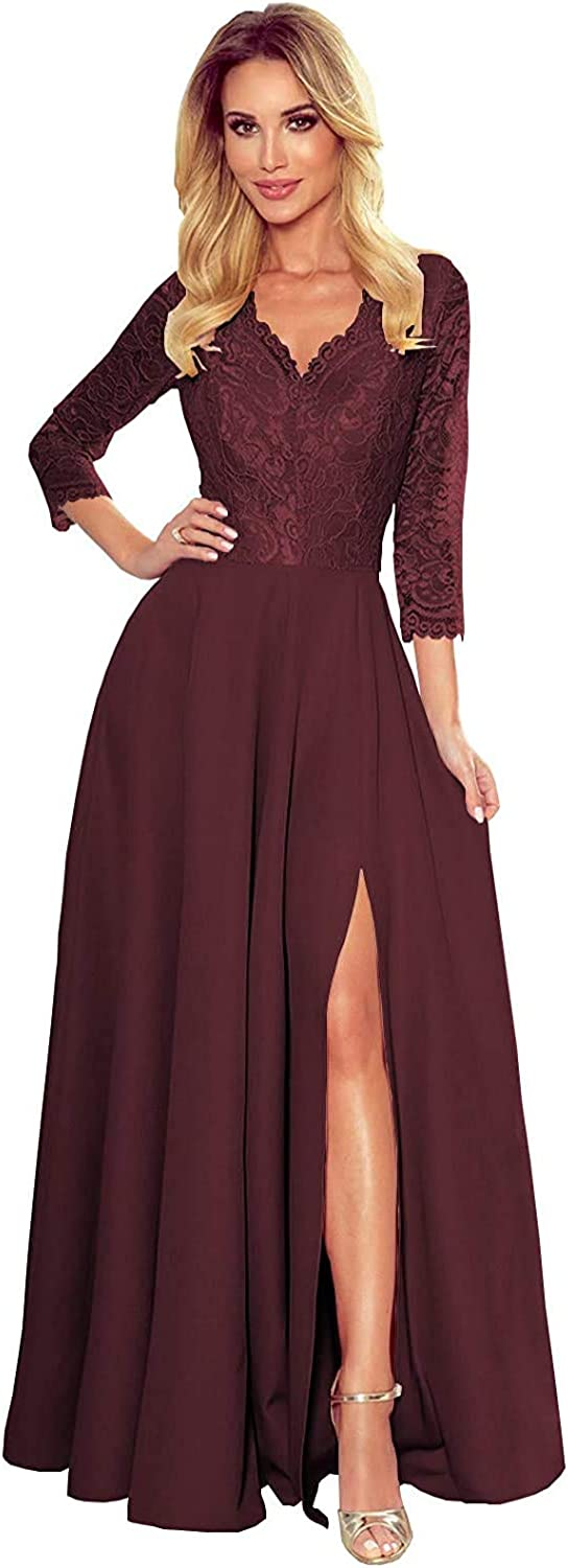 Lace Applique 3 San Diego Mall 4 Sleeves Satin of The sale Bride V-Ne Mother Dresses