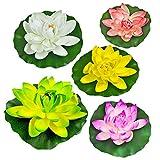 Quanyuchang 5 piezas artificiales flotantes plantas lirios de agua flores de loto almohadillas para el hogar, jardín, estanques, piscina, acuario, pecera, paisaje decoración
