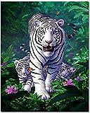 Bougimal Pintar por Numeros Adultos, DIY Pintura por Números Tigre sin Marco de 40 X 50 cm