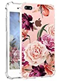 Hepix iPhone 8 Plus Floral Cases Purple Flowers iPhone 7 Plus Case for Girls, Pretty Pink Rose iPhone Clear Case, Soft Flexible TPU with Four Protetcive Bumpers for iPhone 7 Plus / 8 Plus (5.8'), Gift