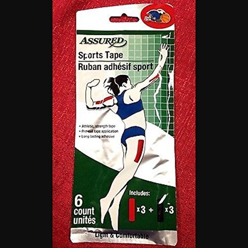 ASSURED Athletic SPORTS TAPE Adhesive Wraps Strength (Light & Comfortable) 6-Count Package by Sports Tape