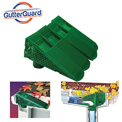 The Wedge Downspout Gutter Guard - Eliminates Downspout Pipe Clogs from Leaves and Debris - 4-Pack (Green)