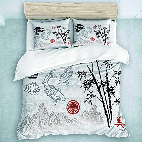 TARTINY Parure de Lit Aquarelle Chinoise Chinoise coréenne Bambou Ornements Aquarelle Rouge Japonais 1 Housse De Couette 220 * 240cm+ 2 Taies d'oreiller 65 * 65cm